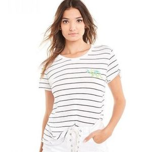 Wildfox Embroidered Dinosaur Striped Tee Shirt